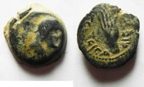 Ancient Coins - Nabataean Kingdom. Malichos I (c. 60-30 BC). AE 17 mm, 4.21 g. Petra mint. Struck in regnal year 28 (= 33 BC).