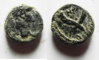 Ancient Coins - Decapolis. GAdara under Claudius (AD 41-54). AE 11mm, 2.21g. Struck in civic year 108 (AD 44/5).