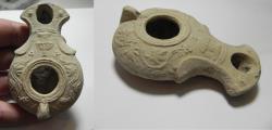 Ancient Coins - FANTASTIC EXAMPLE: JUDAEA. HERODIAN TERRACOTTA OIL LAMP. 100 B.C - 100 A.D