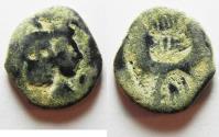 Ancient Coins - NABATAEAN KINGDOM. ARETAS IV & SHAQUELAT AE 17. AS FOUND