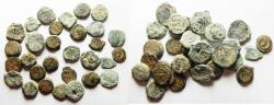 Ancient Coins - LOT OF 30 ANCIENT BRONZE COINS. MOSTLY JUDAEAN