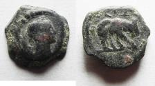 Ancient Coins - EGYPT, Alexandria. Trajan. AD 98-117. AE DICHALCON. Hippopotamus