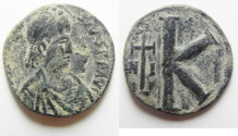 Ancient Coins - BYZANTINE. Justin I (AD 518-527). AE 20 nummi (18mm, 2.75g). Nicomedia mint, 2nd officina.