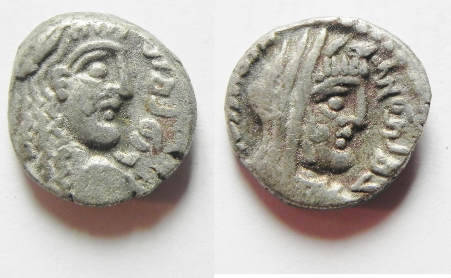 Ancient Coins - Nabataean kingdom. Rabbel II with Gamilat (AD 71-107). AR drachm (13mm, 3.28g).