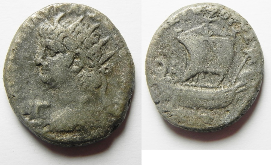 Ancient Coins - Egypt, Alexandria. Nero. 54-68 AD. BI Tetradrachm (25MM, 12.80 G). Dated RY 13 (66/7 AD). With Galley.