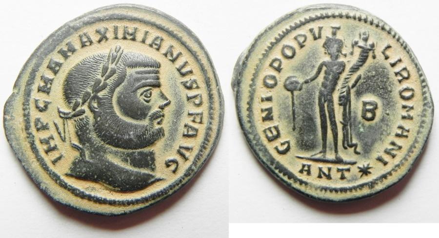 Ancient Coins - BEAUTIFUL: Maximianus. A.D. 286-305. Æ follis. Antioch