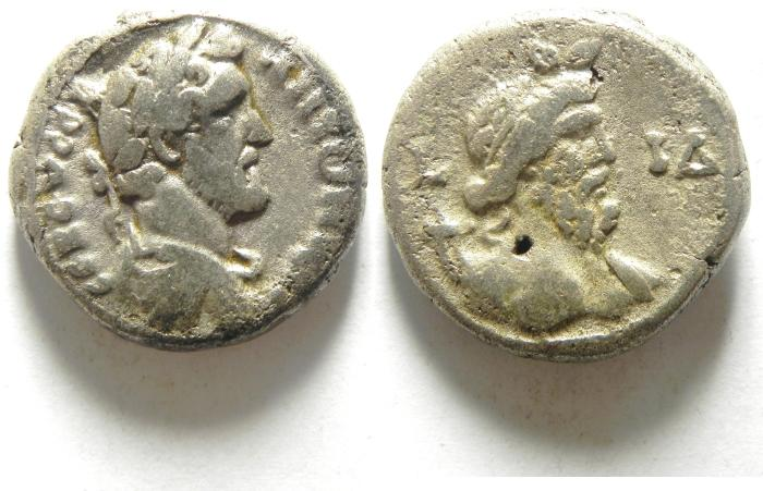 Ancient Coins - EGYPT , ALEXANDRIA , ANTONINUS PIUS BILLON TETRADRACHM , NILUS, SCARCE