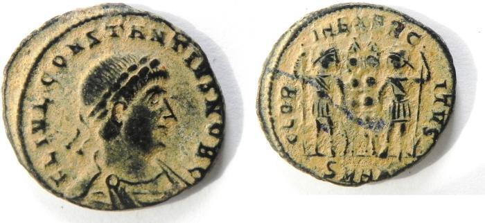 Ancient Coins - CONSTANTIUS II AE 3 , NICE DESERT PATINA