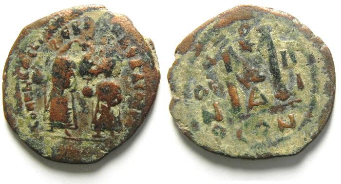 Ancient Coins - HERACLIUS AE FOLLIS, NICE , OVERSTRUCK