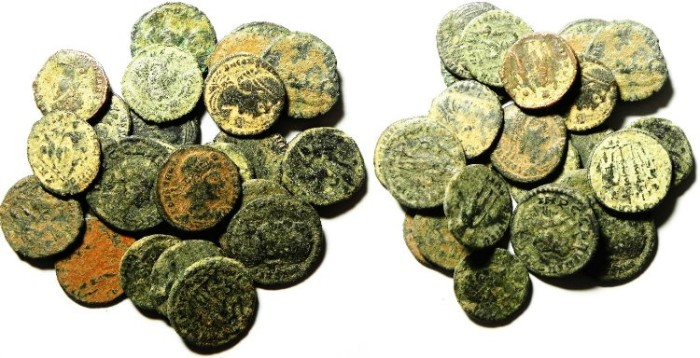 Ancient Coins - LOT OF 27 ROMAN BRONZE COINS, AS FOUND