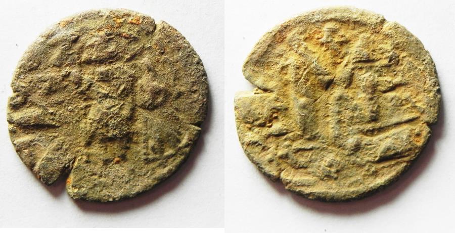 World Coins - ARAB-BYZANTINE AE FALS , IMITATING CONSTANS II AE FOLLIS