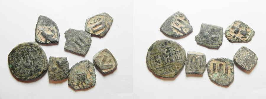 Ancient Coins - LOT OF 7 BYZANTINE AND ARAB IMITATIONS AE COINS
