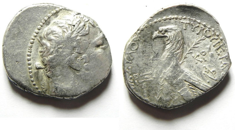 Ancient Coins - JUDAS' 30 PIECES OF SILVER, Phoenicia, Tyre. AR shekel (tetradrachm). Struck in civic year 160 (AD 34/5).