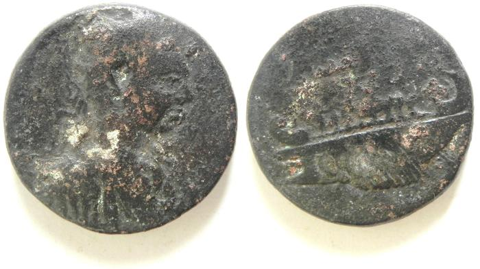 Ancient Coins - DECAPOLIS , RARE GADARA AE 27 , GORDIAN , 20.32 GM