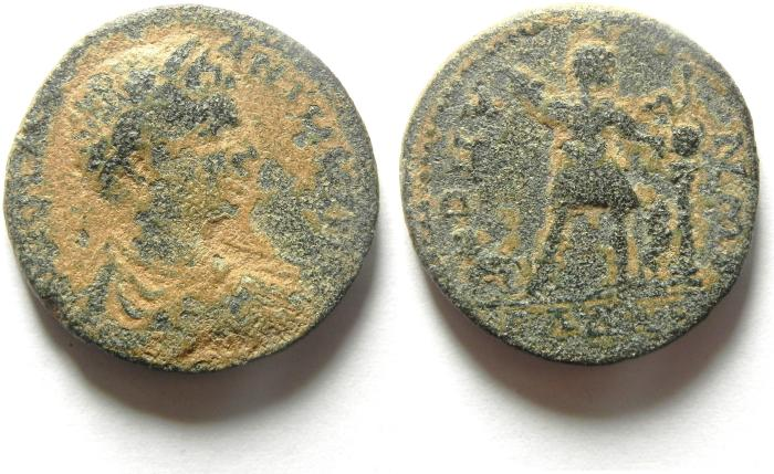 Ancient Coins - Roman Provincial. Syria. Decapolis. Gadara. Under Elagabalus. AE 25 . A new and possibly unpublished date for this enigmatic type.