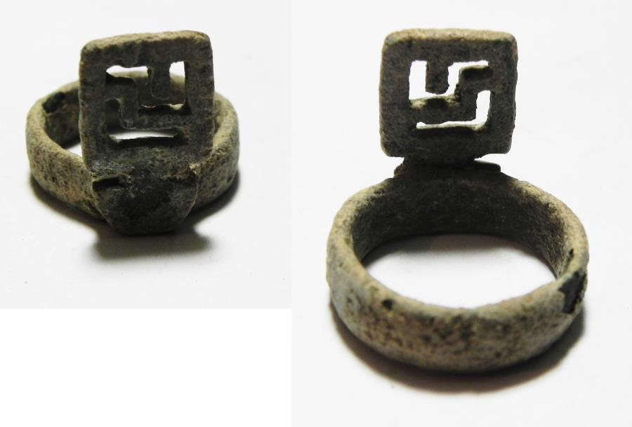 "Ancient Coins - ANCIENT ROMAN BRONZE ""KEY"" RING . 200 - 300 A.D"