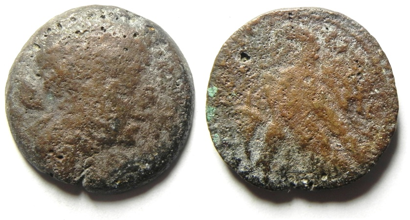 Ancient Coins - EGYPT - THE FAMOUS QUEEN CLEOPATRA (VII) , AE 40 DRACHMA COIN