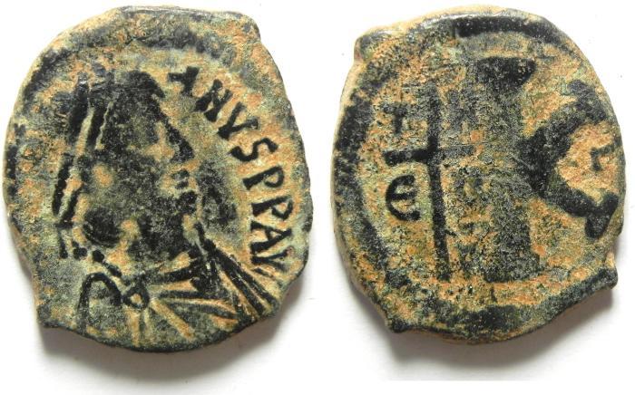 Ancient Coins - JUSTINIAN I (527-565). Theupolis (Antioch). Half Follis.