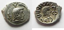 Ancient Coins - SOUTH ARABIA. Himyarite Kingdom. Tha'ran Ya'ub (c. AD 175-215). AR unit (16mm, 1.73g). Raydan mint.