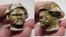 Ancient Coins - ANCIENT EGYPT. LIMESTONE HEAD OF A MAN. 1500 - 1100 B.C. NEW KINGDOM