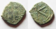 Ancient Coins - BYZANTINE EMPIRE. JUSTIN II & SOPHIA BRONZE HALF FOLLIS