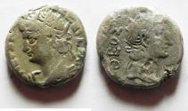 Ancient Coins - EGYPT. ALEXANDRIA. Nero BILLON TETRADRACHM WITH TIBERIUS