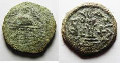 Ancient Coins - Judaea. Herod the Great 37 BC - 4 AD. AE 8 Prutot. Samaria Mint.
