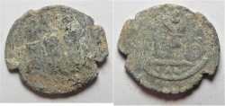 Ancient Coins - ARAB-BYZANTINE AE FILS. TIBERIAS MINT. AS FOUND. NICE QUALITY