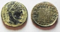 Ancient Coins - CAMP GATE WITH OPEN DOORS. CONSTANTINE I AE 3 . NICE DESERT PATINA