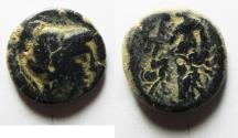 Ancient Coins - NABATAEAN KINGDOM. ARTEAS II/III AE 16. OVER-STRUCK ON A PTOLEMY II COIN