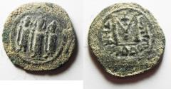 World Coins - ISLAMIC, Umayyad Caliphate. Uncertain period (pre-reform). AH 41-77 / AD 661-697. Æ Fals . Type III. Tabariyya (Tiberias) mint.