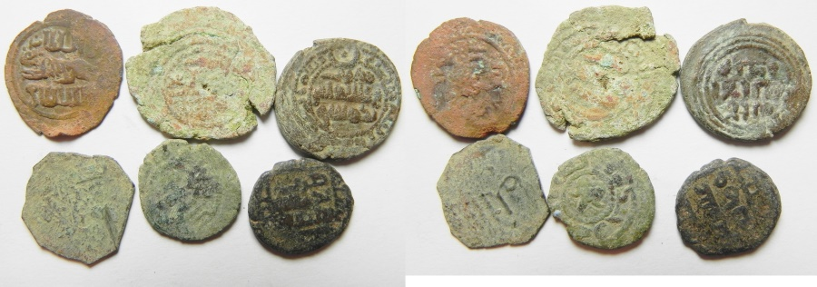 Ancient Coins - LOT OF 6 ISLAMIC BRONZE COINS