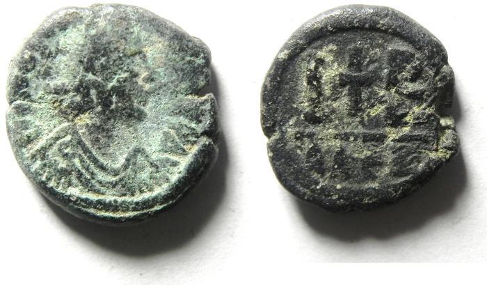 Ancient Coins - Justin I. 518-527. Æ 12 nummi. Alexandria