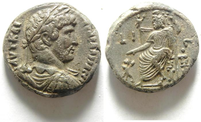 Ancient Coins - EGYPT , ALEXANDRIA , HADRIAN BILLON TETRADRACHM WITH SARAPIS ENTHRONED ,  CHOICE EF CONDITION FOR THE TYPE!!!
