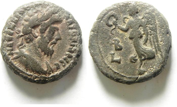 Ancient Coins - EGYPT , ALEXANDRIA , MARCUS AURELIUS AS AUGUSTUS AR TETRADRACHM , NICE QUALITY , NIKE, YEAR 2 , VERY RARE!!!!!
