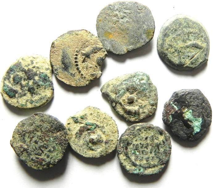 Ancient Coins - LOT OF 9 JUDEAN PRUTOT , AS FOUND