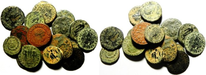 Ancient Coins - LOT OF 17  ROMAN BRONZE COINS, AS FOUND