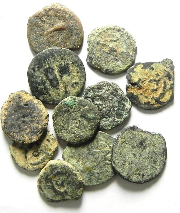 Ancient Coins - LOT OF 11 JUDAEAN / HERODIAN PRUTOT AS FOUND