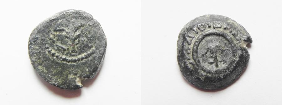 Ancient Coins - Judaea, Alexander Jannaeus, 103-76 BC, Lily Prutah