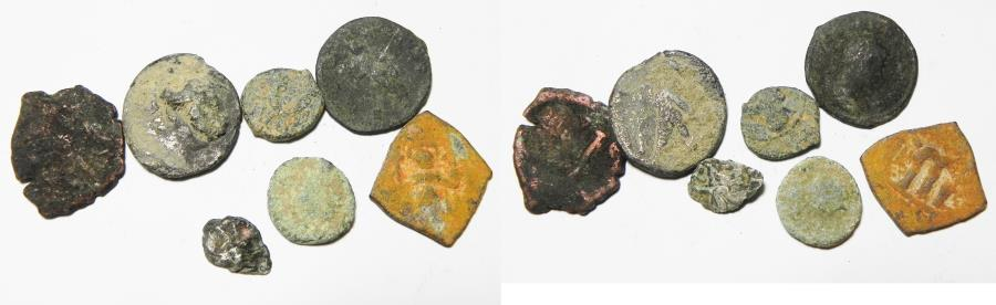 Ancient Coins - LOT OF 7 MIXED ANCIENT COINS, 2 SILVER. INCLUDING A SELEUKID SILVER DIDRACHM
