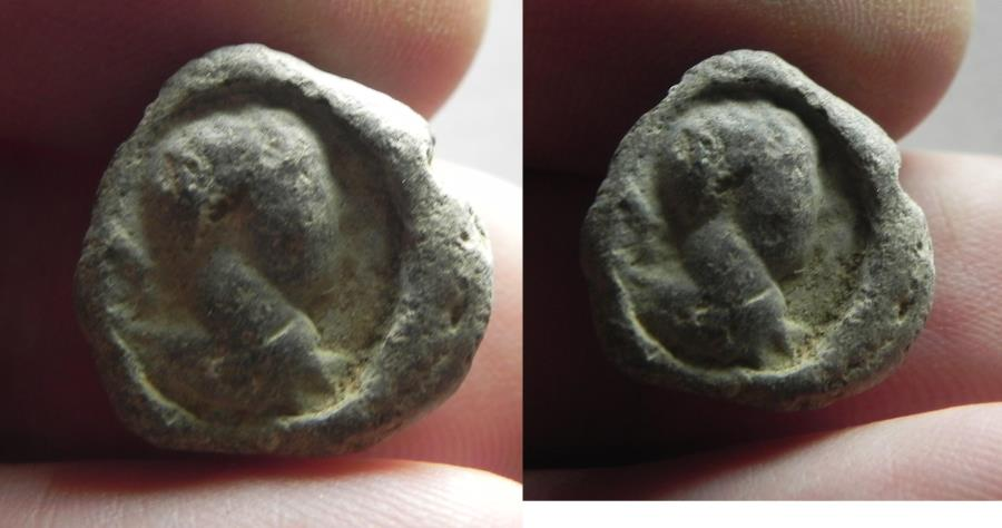 Ancient Coins - ROMAN LEAD BULLA. SEAL IMPRESSION. MALE's HEAD FACING RIGHT
