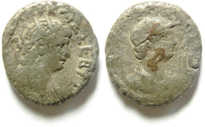 Ancient Coins - EGYPT , ALEXANDRIA , NERO BILLON TETRADRACHM , ALEXANDRIA BUST