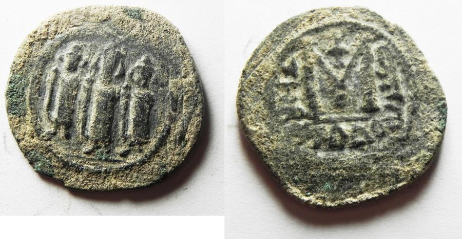 World Coins - ISLAMIC, Umayyad Caliphate. Uncertain period (pre-reform). AH 41-77 / AD 661-697. Æ Fals . Type III. Tabariyya (Tiberias) mint.