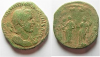 Ancient Coins - Trajan Decius. AD 249-251. Æ Sestertius (28mm . 15.88gm). Rome mint