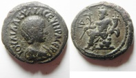 Ancient Coins - Egypt. Alexandria under Julia Aquilia Severa (AD 220-222). Potin tetradrachm (24mm, 13.22g). Struck in regnal year 5 of Elegabalus (AD 220/1).