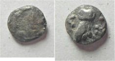 Ancient Coins - GREEK. Philistia. Gaza(?). Mid-fifth-fourth century BC. AR fraction (8mm, 0.63g).