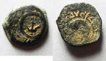 "Ancient Coins - BROKAGE: Alexander Jannaeus AE ""Lily"" Prutah, 103 - 76 B.C.E."