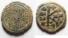Ancient Coins - 	BYZANTINE EMPIRE. JUSTINIAN I BRONZE HALF FOLLIS