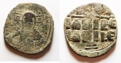 Ancient Coins - Facing bust of Christ holding the book of Gospels: Byzantine Empire, Anonymous. AE Follis