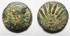 Ancient Coins - EGYPT. ALEXANDRIA UNDER AUGUSTUS (27 BC-AD 14). AE DIOBOL (24MM , 10.69G). CORN BUNDLE